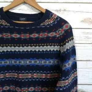 J. Crew 100% Wool Fair Isle Nordic Navy Sweater